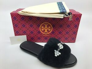 04c1d040b2a Tory Burch Women s Navy Aspen Shearling Crystals Slide Slipper Size ...