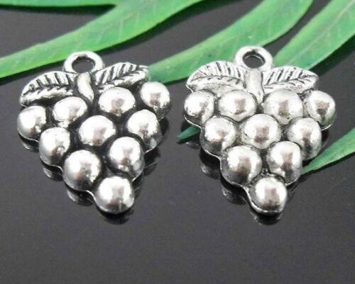 Wholesale 21//47Pcs Tibetan Silver Grapes Charms 20x14.5mm Lead-free