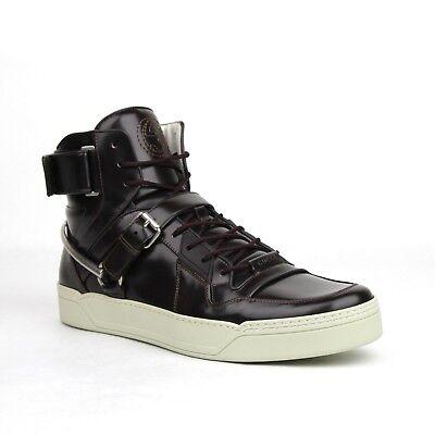 Gucci Mens Dark Burgundy Leather Hi Top Sneaker Horsebit Strap 13.5G 407373 6040
