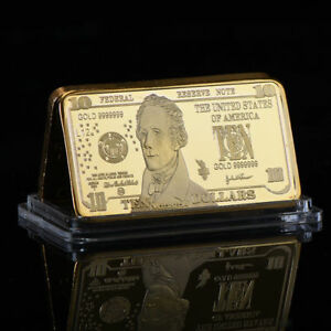 WR-USD-Banknote-US-America-10-Ten-Dollar-Bill-999-Fine-GOLD-Clad-Bar-Collectors
