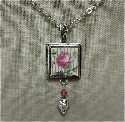 """LOVELY PINK ROSE FLORAL PLATE, SQUARE """"BROKEN CHINA JEWELRY"""" PENDANT NECKLACE"""