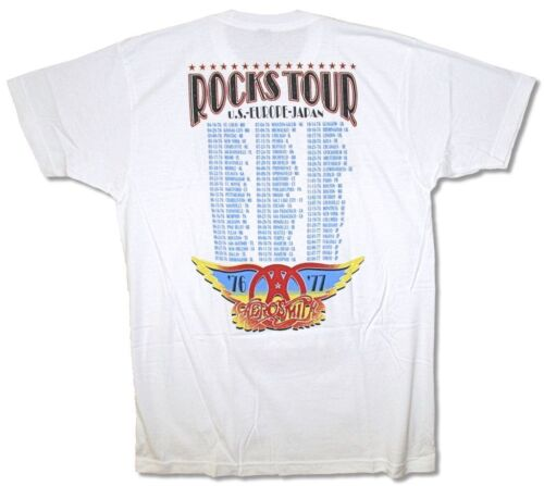 Aerosmith Rocks World Tour 1976-1977 White T Shirt New Official Reissue