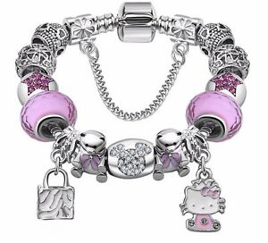 Candy Styles Murano Glass Beads Hello Kitty Charm Bracelet ...