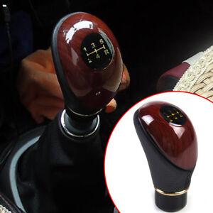 New Universal Car 5 Speed Gear Shift Knob Wood Grain Leather MT Gear Shift Lever