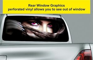 Window-Graphic-Tint-Truck-Jeep-SUV-Fantasy-Lady-Legend-Eyes-Sticker-791