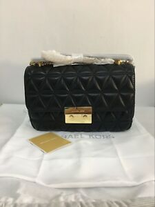 Last Stock MICHAEL KORS BLACK GOLD SLOAN LARGE QUILTED-LEATHER ... 31905802f