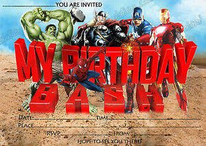 Detalles De Nuevos Chicos Fiesta De Cumpleaños Invitaciones Super Héroe Marvel Héroe X 8 Tarjetas Ver Título Original