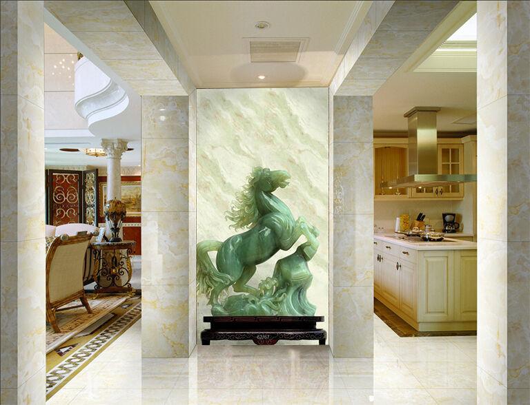 3D Jade Cheval 5 Photo Papier Peint en Autocollant Murale Plafond Chambre Art
