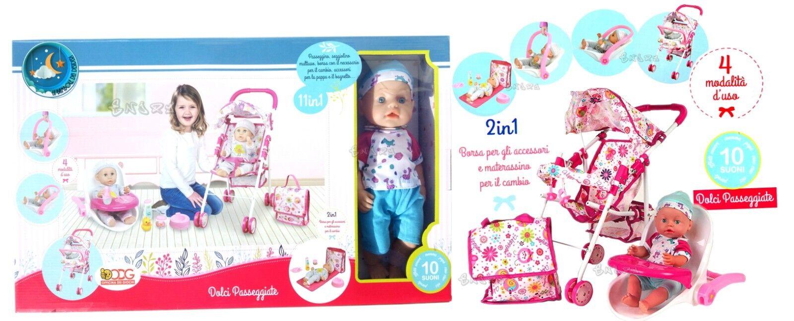 Kinderwagen für Puppen Ovetto Lesen Wiege Baby-Puppen Spiel kind mit sounds 127