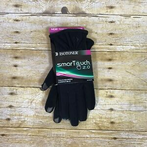 Isotoner-SmarTouch-2-0-Touch-Screen-Compatible-Gloves-Womens-Sz-M-L-Black