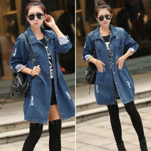 Vogue Women Casual Long Sleeve Denim Jacket Long Jean Coat Outwear Overcoat