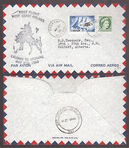 CANADA-1960-WEST-COAST-AIRLINES-FIRST-FLIGHT-COVER-CALGARY-TO-SPOKANE