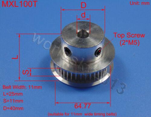 8//10//12mm Bore MXL100 Synchronous Timing Belt Pulley Gear Sprocket fr 3D Printer