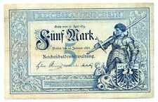 Germany Empire Imperial Treasury Note Reichskassenschein 5 Mark 1882 VF #6 RARE