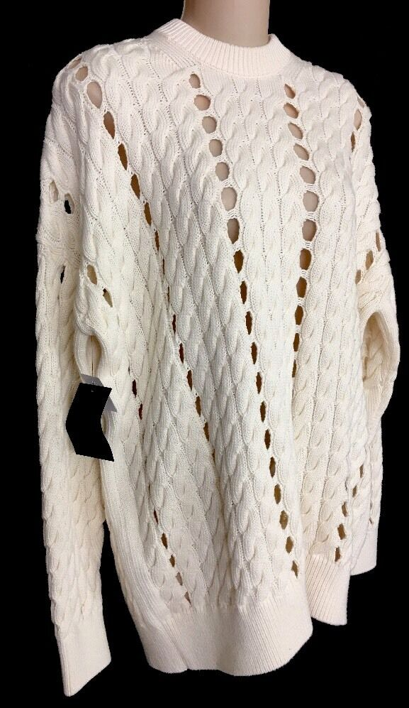 Alexander Wang Bone Cable Cable Cable Knit Cotton Sweater Size XS NWT 961cb3