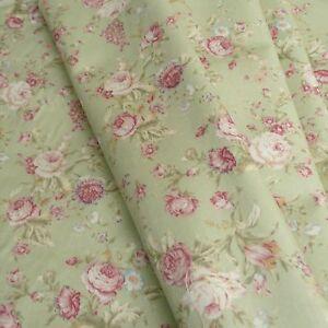 Salvia-Verde-Floreale-Popeline-di-Cotone-Stampato-Tessuto-Stile-Vintage-Scuro-amp