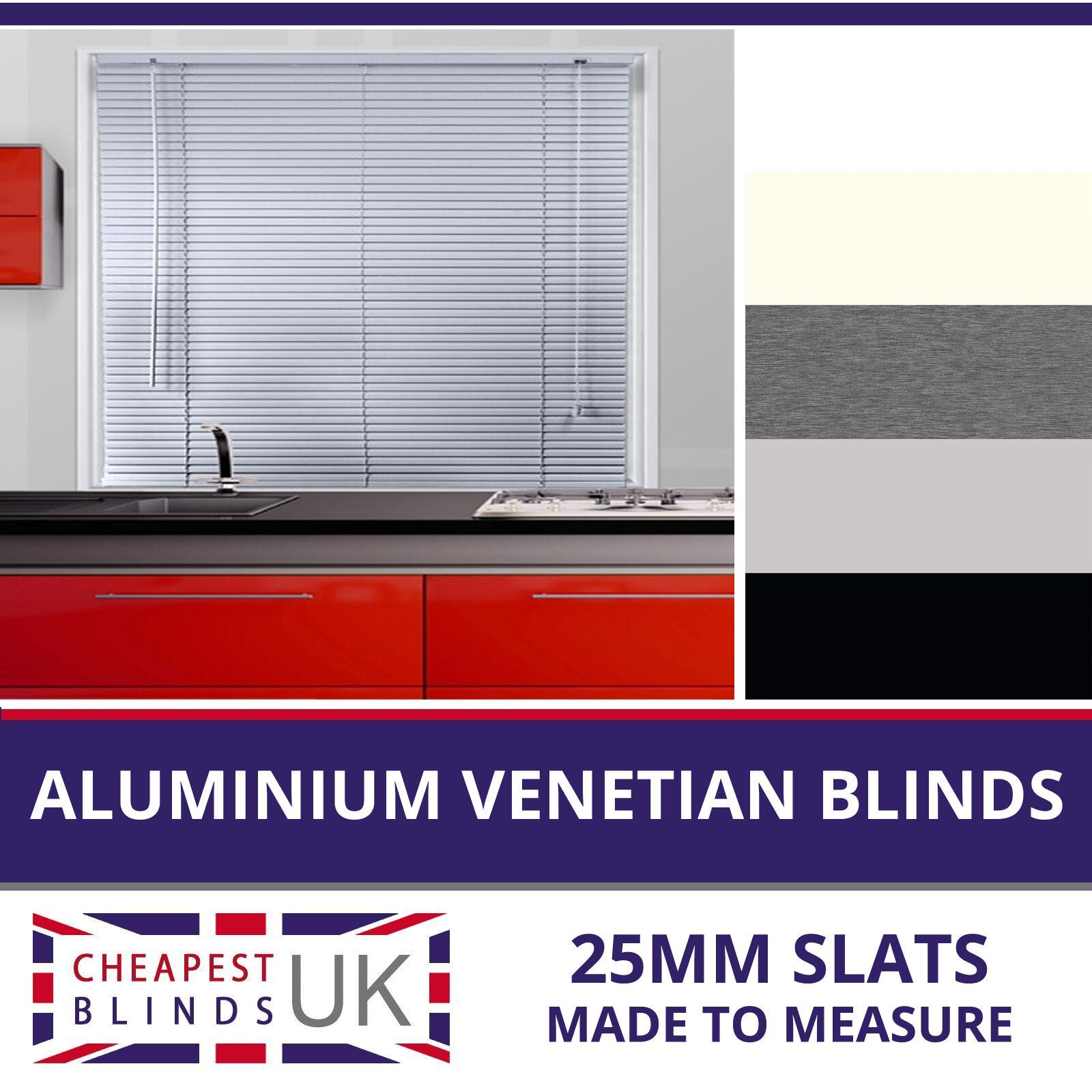 Su Misura Alluminio Metallico in venetians Bianco Panna argentoo o Nero 25mm SLATS