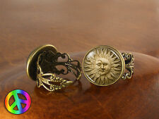 Sun Moon Space Astrology Faces Womens Girls Adjustable Ring Rings Jewelry Gift