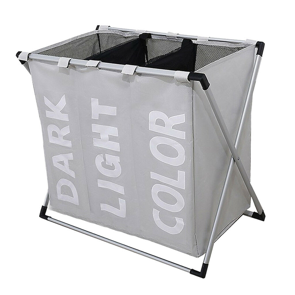 Free Stand Laundry Hamper Washing Clothes Bag Sorter Organiser Box grau 1