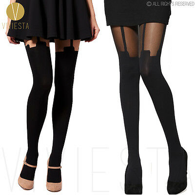 SUPER MOCK SUSPENDER TIGHTS - Sexy Celebrity Hold Ups Knee Thigh High Pantyhose