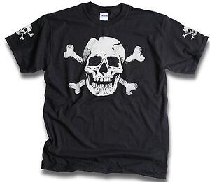 Skull-Bones-Sleeve-Print-Mens-Womens-Pirate-Biker-Goth-t-shirts-Sm-3XL