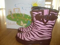 Girls Size 12b Gabriella Rocha Playful Rubber Rain Boots Pink Brown Zebra