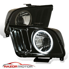 2005 2009 Black Smoke Led Halo Headlights Pair For Ford Mustang V6 V8 With Bulb Fits Mustang