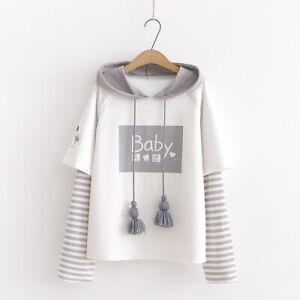 Kawaii Clothing Ropa Harajuku Hoodie Striped Sweatshirt Ulzzang Pullover Coats Ebay