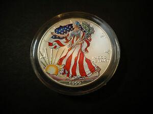 1999 Full Colorized American Silver Eagle 1 Troy Oz 1 Dollar Coin Bu 999 475 Ebay