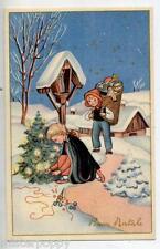 Bambini sulla Neve con Doni Albero Childrens PC circa 1930 ITALY