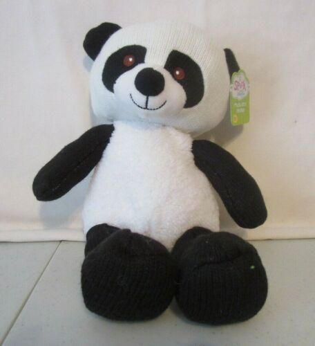 "New Spark Create Imagine Knit Black White 14/"" Rattle Panda Bear Plush Toy"