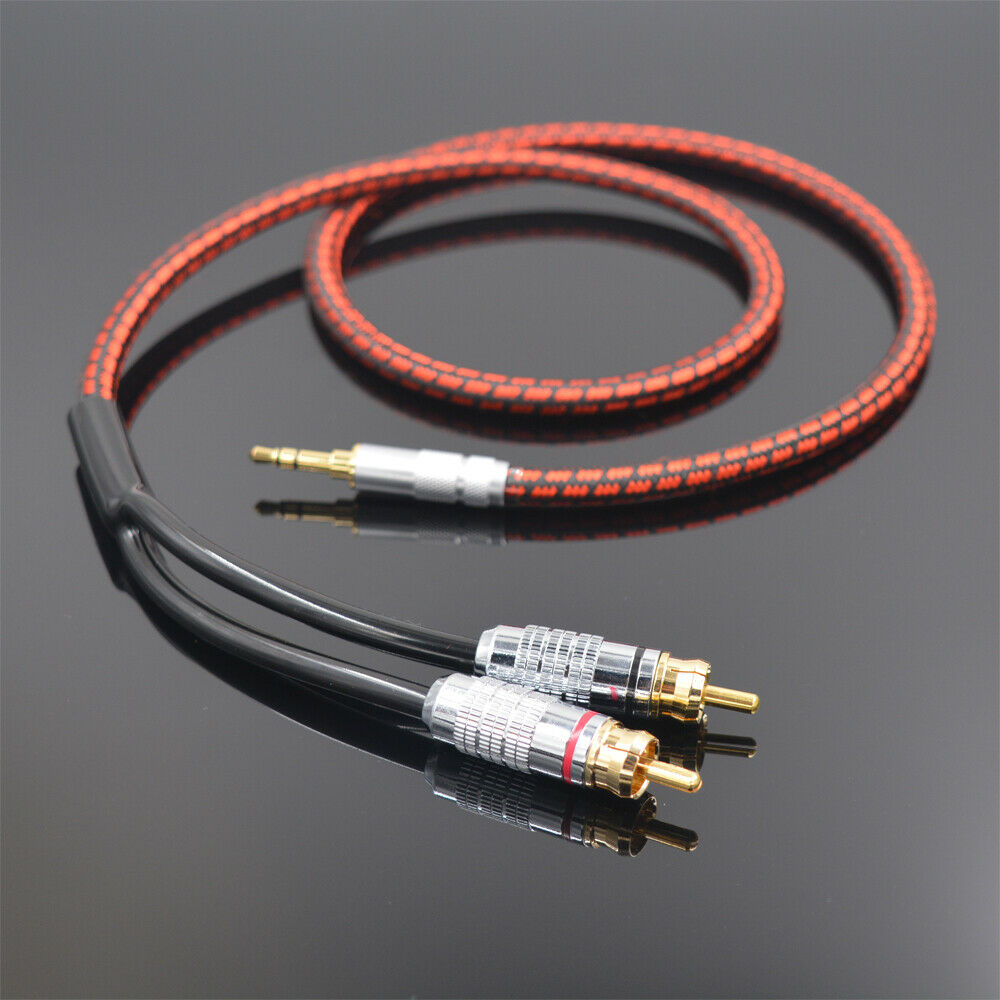 High Quality Stereo 3.5mm to 2 RCA Audio Cable Audiophile Hi Fi for HDTV CD DVD