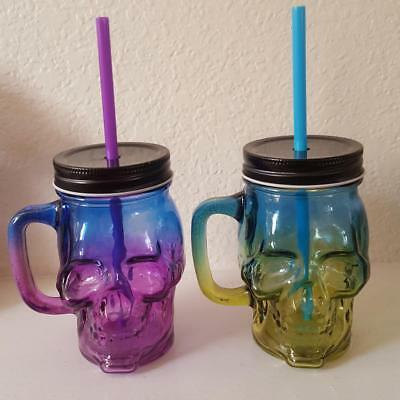 HOME OR OFFICE HALLOWEEN SKULL JAR CUP WITH STRAW