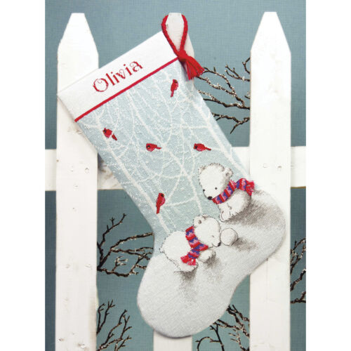 """Dimensions Counted Cross Stitch Kit 16/"""" Long-Snow Bears Stocking 14 Count"""
