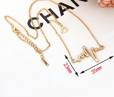 1Pcs Stylish Women Cute Heart Beat Pendant Necklace Stainless Steel with Chain