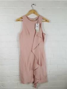 New-Next-Dusty-Pink-Sheath-Dress-Frill-Detail-Summer-Wedding-The-Races-Size-UK-8