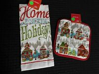 2pc. Home For The Holidays X-mas Terry Kitchen Dish Hand Towel & Pot Holder