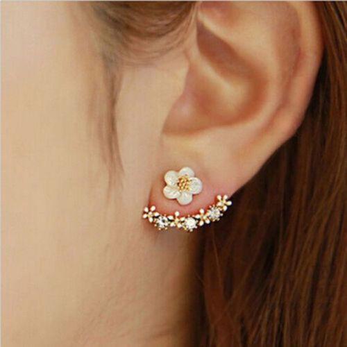 1Pair New Gold Sliver Women Lady Elegant Crystal Rhinestone Ear Stud Earrings