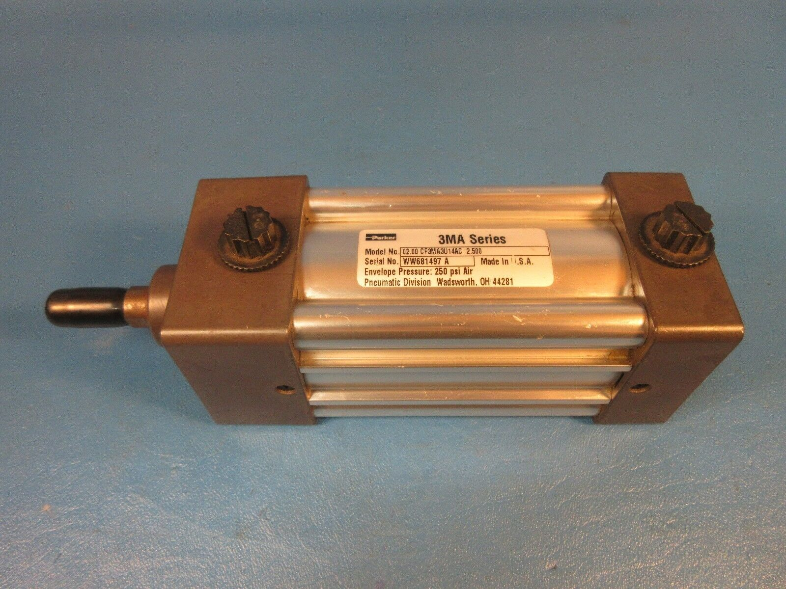 Parker Cylinder 3F3MA3U14AC, 3MA Series, 2  Bore, 2-1 2  Stroke, 250 PSI Air