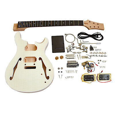Coban Guitars Kit de guitare semi-creuse LPSH en acajou semi-creux avec dessus en placage d/érable spalt/é Raccords chrom/és sans soudure