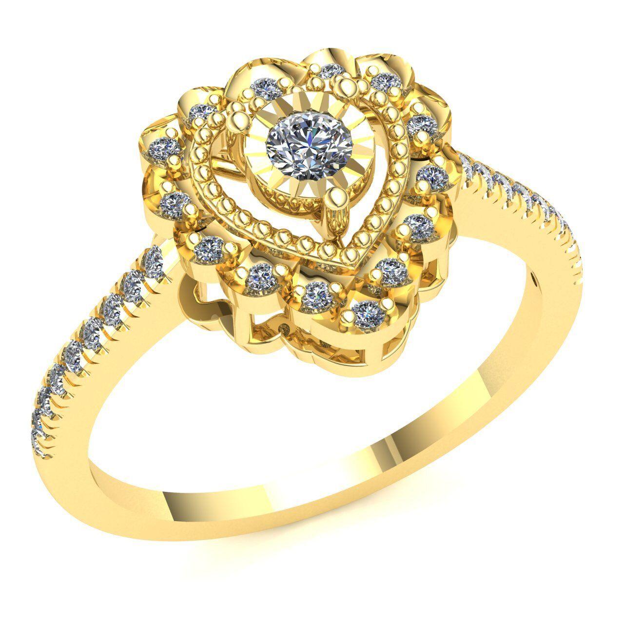 Genuine 3ctw Round Cut Diamond Ladies Fancy Dome Designer Pendant Solid 14K gold