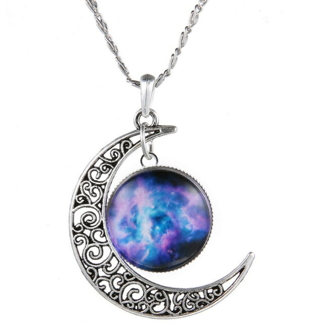 LOT 5pcs Crescent Moon Galactic Universe Necklace Nebula Star Wicca Pendant