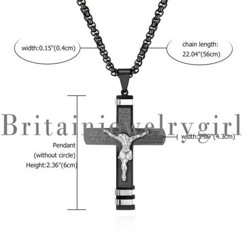 """Acier Inoxydable Jésus Crucifix Croix Lord/'s prière collier pendentif pour hommes 22/"""""""