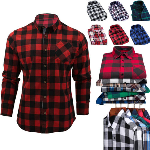 New Mens Casual Plaid Comfort Flannel Long Sleeve Fit Cotton Check Shirt M-2XL