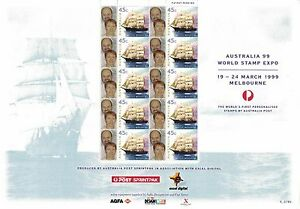 1999-Australia-The-World-039-s-First-Personalised-Stamps-Sheet-of-10-w-ngtv-sh-Rare