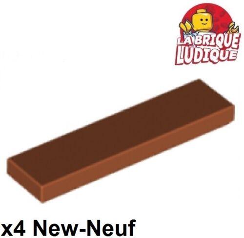 4x Tile plaque lisse 1x4 with Groove dark orange foncé 2431 NEUF Lego