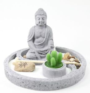 tabletop zen garden buddha rock rake sand cactus candle holder, Garden idea