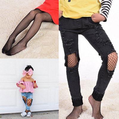 Kids Baby Girls Black Tights 3 Sizes Mesh Fishnet Pantyhose Stockings Socks QEQ