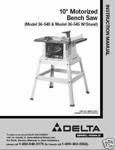 delta table saw 36 540 36 545 instruction manual ebay rh ebay com Delta Model 10 Contractors Saw Delta Table Saw 36 600