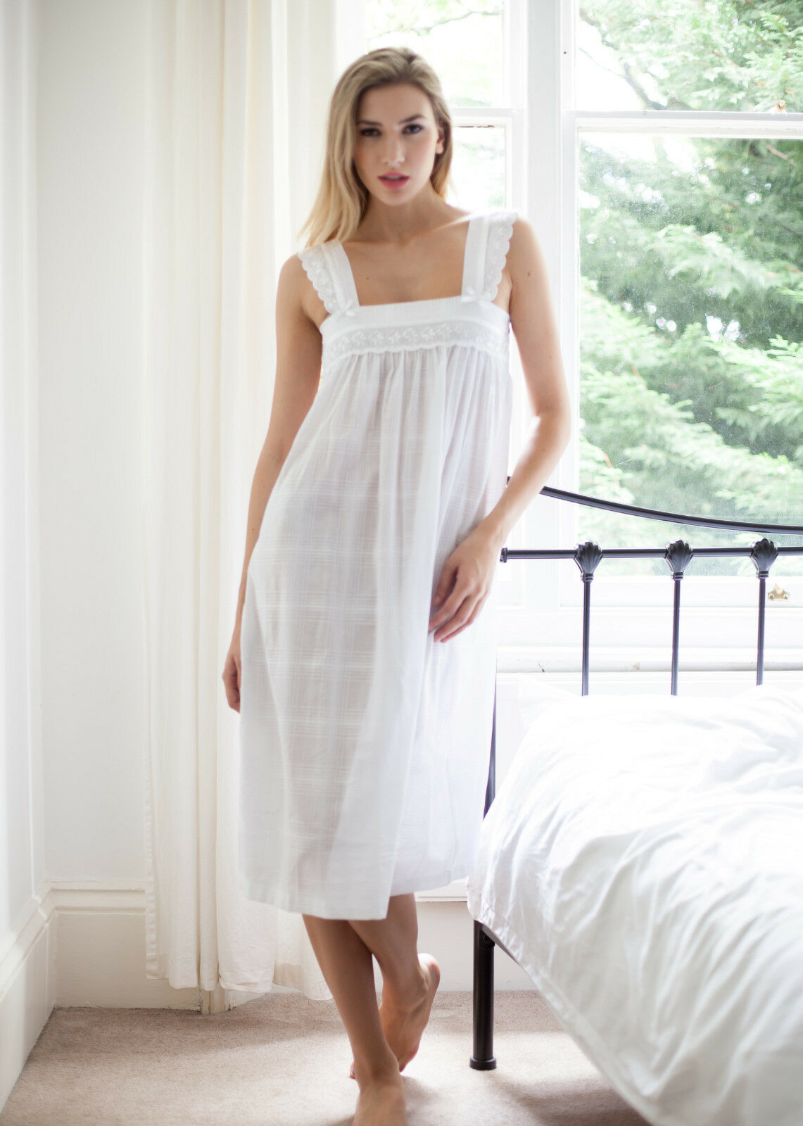 Cottonreal 'Nana' 100% Cotton Lawn Wide Shoulder Strap White Ladies Nightdress